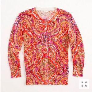 JCrew marigold paisley cardigan